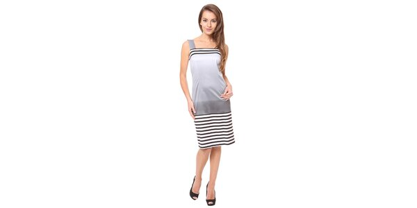 Dámske strieborné šaty s prúžkami Moda Prym