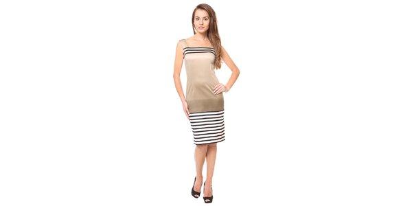 Dámske zlaté šaty s prúžkami Moda Prym