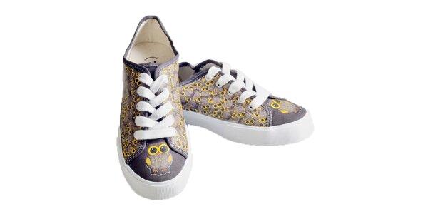 Dámske šedé topánky so sovami The Bees