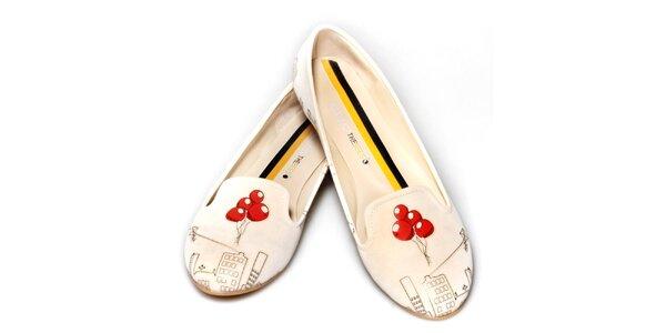 Dámske smotanové loafers s balónikmi The Bees