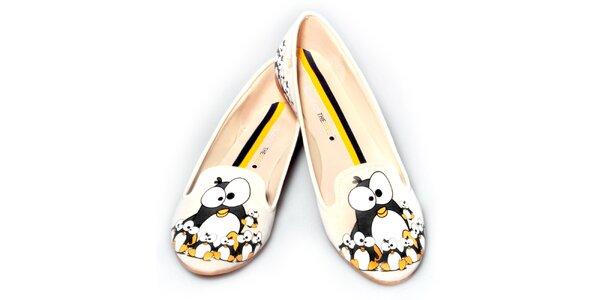 Dámske smotanové loafers s tučniakmi The Bees