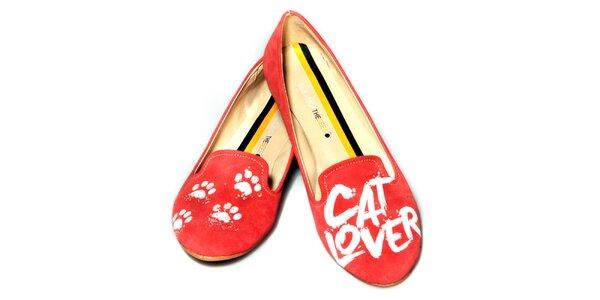 Dámske červené loafers s potlačou The Bees