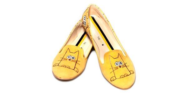 Dámske žlté loafers s veselou potlačou The Bees