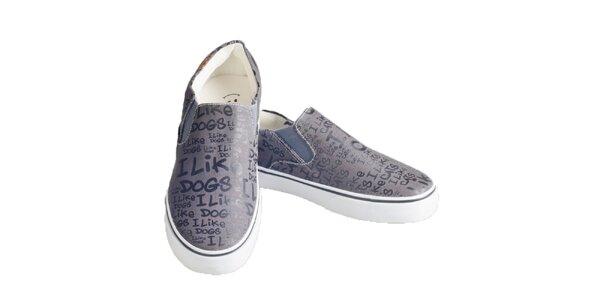 Dámske šedé topánky s potlačou The Bees