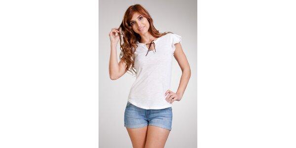 Dámske biele tričko so zaväzovaním Stix