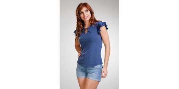 Dámske modré bavlnené tričko Stix