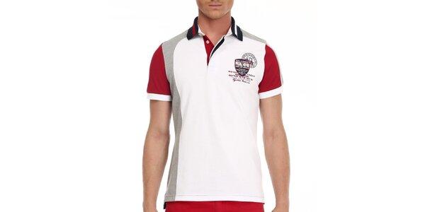 Pánske bielo-červené tričko s nápismi na chrbáte Galvanni