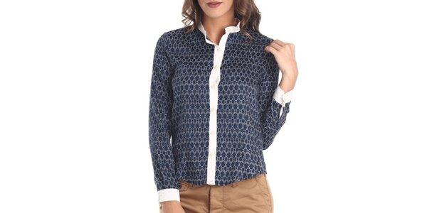 Dámska modrá košeľa s bielym vzorom Galvanni
