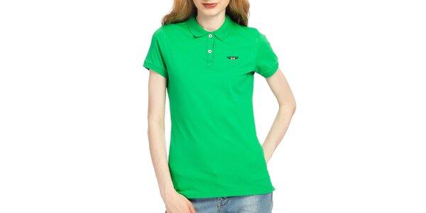 Dámske zelené polo tričko s krátkym rukávom Galvanni