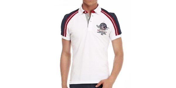 Pánske biele polo tričko s červenými pruhmi a výšivkou na hrudi Galvanni