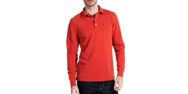Pánske tehlovo červené polo tričko s dlhým rukávom Galvanni