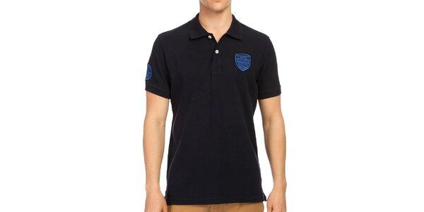 Pánske tmavo modré bavlnené polo tričko Galvanni