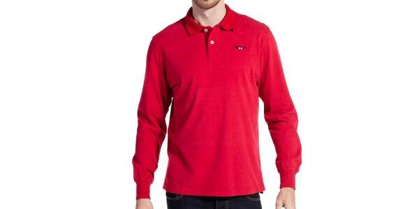 Pánske červené polo tričko s dlhým rukávom Galvanni