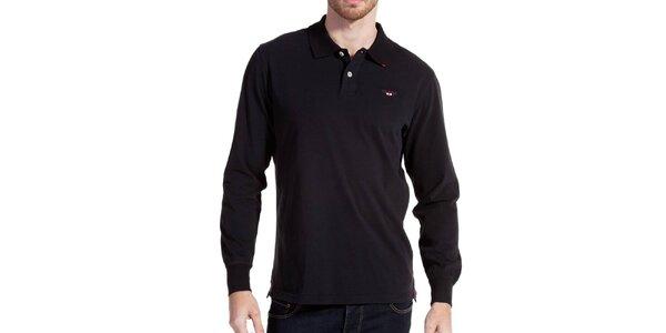 Pánske tmavo modré polo tričko s dlhým rukávom Galvanni