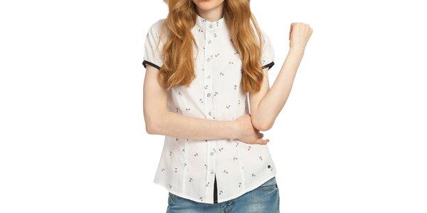Dámska biela košeľa s kotvami Galvanni