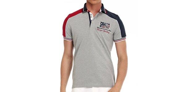 Pánske šedé polo tričko s farebnými prúžkami Galvanni