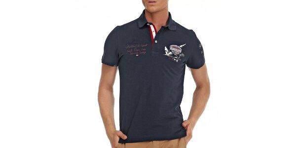 Pánske tmavo modré polo tričko s dekoráciami Galvanni