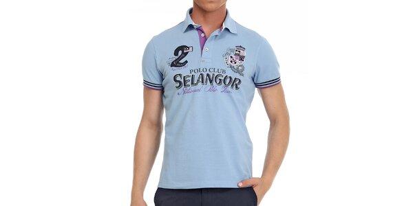 Pánske svetlo modré polo tričko s ozdobnými prvkami Galvanni