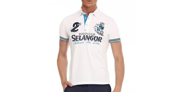 Pánske biele polo tričko s ozdobnými prvkami Galvanni