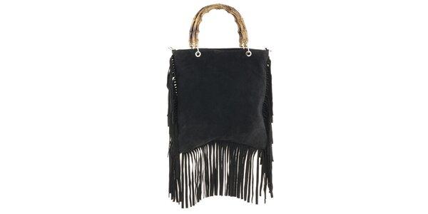 Dámska čierna kabelka so strapcami Tina Panicucci