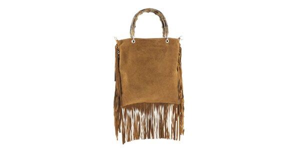 Dámska svetlo hnedá kabelka so strapcami Tina Panicucci