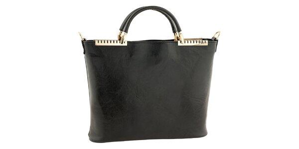 Dámska čierna kožená kabelka s kovovými detailmi Tina Panicucci