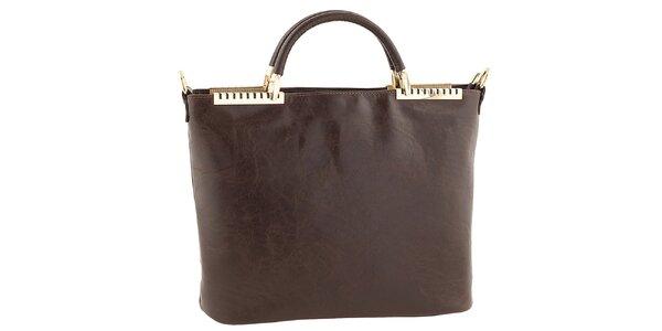 Dámska tmavo hnedá kožená kabelka s kovovými detailmi Tina Panicucci