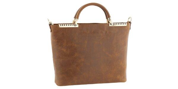 Dámska hnedá kožená kabelka s kovovými detailmi Tina Panicucci