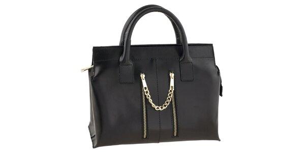 Dámska čierna kožená kabelka so zipsovými vreckami Tina Panicucci