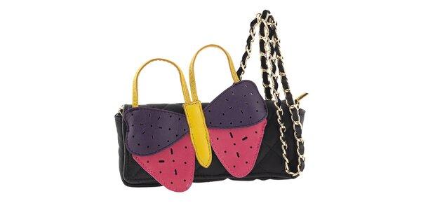 Dámska čierna kožená kabelka s veľkým farebným motýlikom Tina Panicucci