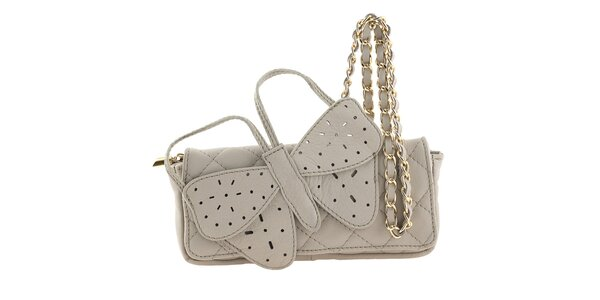 Dámska krémová kožená kabelka s veľkým motýlikom Tina Panicucci