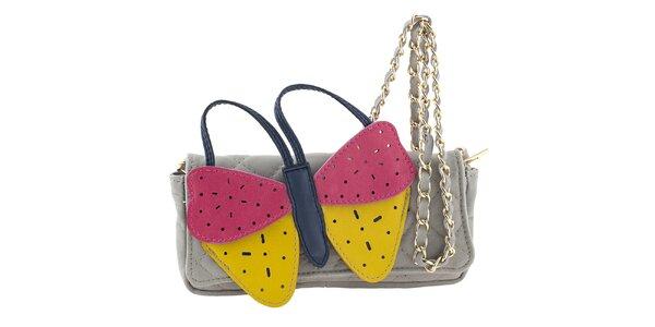 Dámska šedá kožená kabelka s veľkým farebným motýlikom Tina Panicucci