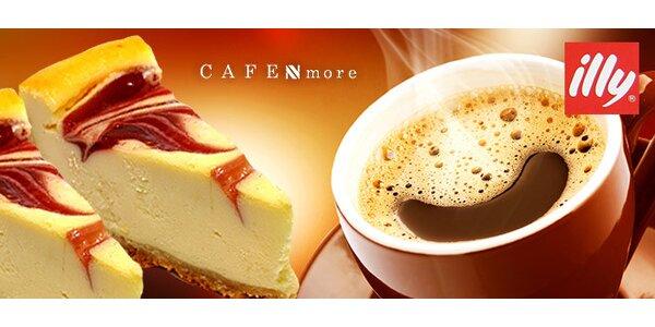 Lahodné talianske espresso s pravým americkým cheesecake