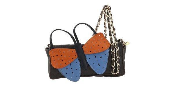 Dámska tmavo hnedá kožená kabelka s veľkým farebným motýlikom Tina Panicucci