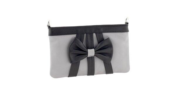 Dámska hnedá kožená listová kabelka s čiernou mašľou Tina Panicucci
