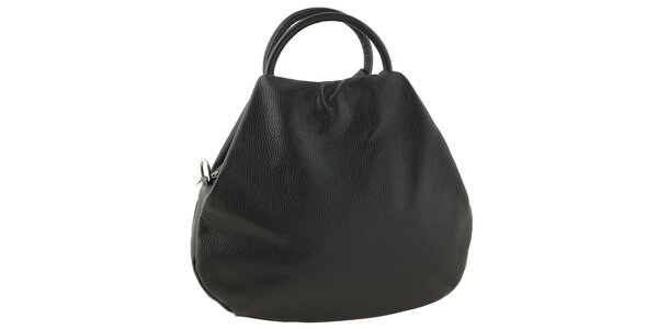 Dámska kožená čierna bowlingová kabelka s dvomi ušami Tina Panicucci