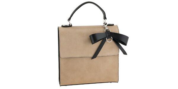 Dámska béžová kabelka s čiernou mašľou Tina Panicucci