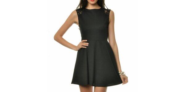 Dámske čierne koktejlové šaty s čipkou Dia Vynne