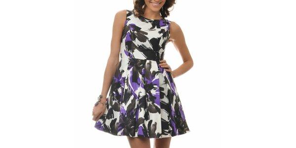 Dámske bielo-čierno-fialové šaty so vzorom Dia Vynne