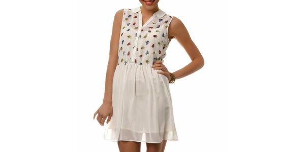 Dámske biele šaty s farebnými lienkami Dia Vynne