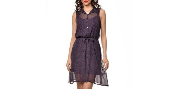 Dámske tmavo fialové košeľové šaty s bodkami Dia Vynne