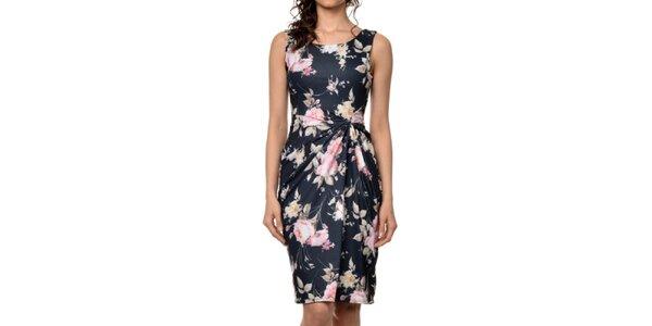 Dámske čierne šaty s farebnou kvetinovou potlačou Dia Vynne