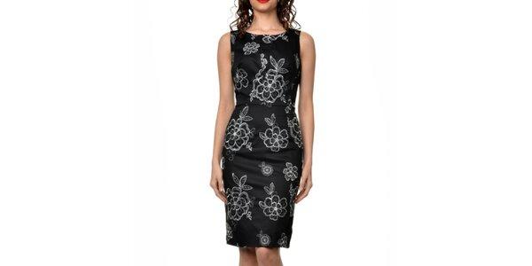 Dámske čierne šaty s kvetinovými výšivkami Dia Vynne