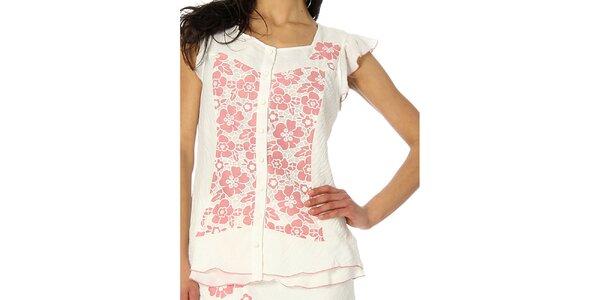 Dámsky biely top s ružovými kvetmi Squise