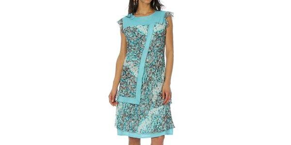 Dámske svetlo modré šaty s krátkym rukávom Squise