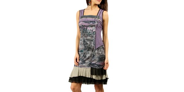 Dámske fialové šaty bez rukávov Squise