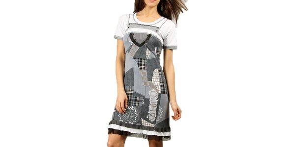 Dámske šedé šaty s volánikmi Squise