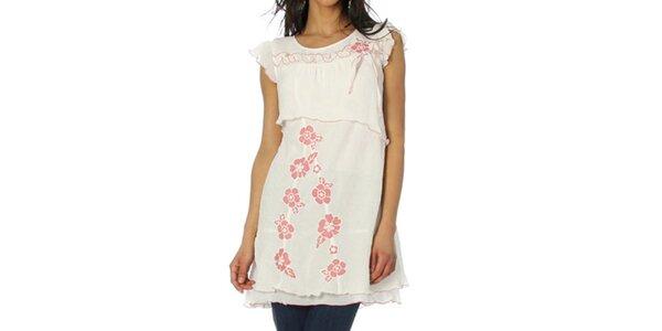 Dámska biela tunika s ružovými kvetmi Squise