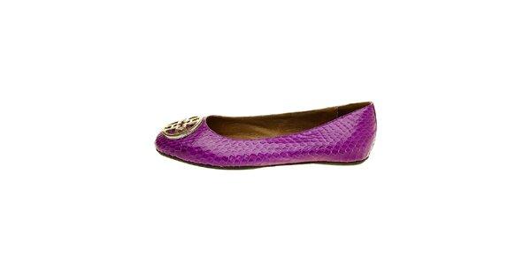 Dámske purpurové hadie baleríny Hope so striebornou sponou