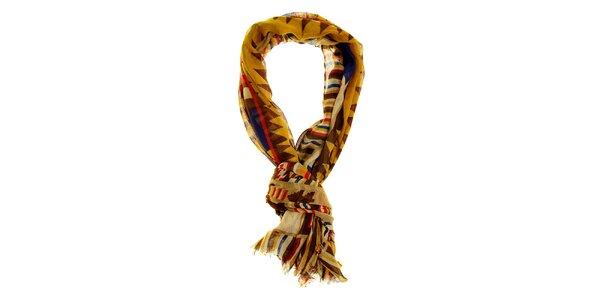 Dámsky béžovo-horčicový šál Hope s aztéckym vzorom